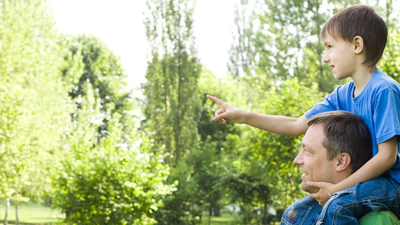 Un niño y su padre caminando y explorando el parque
