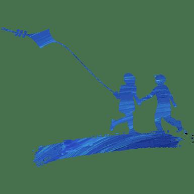 siluetas de niños volando una cometa